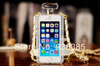 2014 Hot sale Luxury Brand Perfume Bottle Leather Lanyard Chain silicone case For iphone 5 5s 4 4s Handbag style TPU Cover