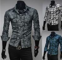 Free Shipping ! High quality 2014 New Fashion Casual Slim Fit Long-sleeved Men's Dress Shirts Korean Leisure Styles Shirt