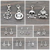 Wholesale 20PCS Punk Charms Tibetan Silver Tone Skull Bone Lobster Clasp Charms Pendant