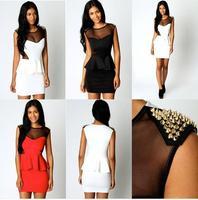 2014 fashion slim hip gold gauze sexy one-piece dress