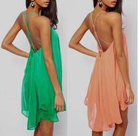 2014 fashion sexy spaghetti strap back metal buckle cross cutout sleeveless solid color chiffon one-piece dress