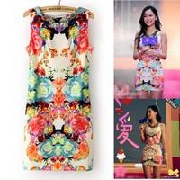 2014 angelababy star style fashion slim waist sleeveless vintage flower one-piece dress
