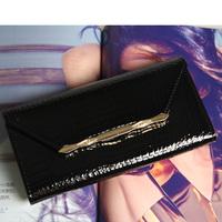 Women's genuine leather wallet long design 2014 japanned leather cowhide wallet Women zipper wallet day clutch bag