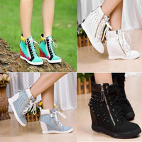 Hot Sales new 2014 Autumn Black  Hidden Genuine Leather Women Wedge Heels Casual shoes Women's High-heels Sneakers Sports Shoes