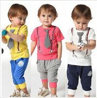 2014 boys suits summer models cotton leisure suit children' clothing girls baby kids set