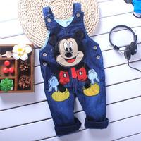NEW blue Children jeans overalls suspender Cartoon  Baby Shoulder strap two-button  baby denim overalls