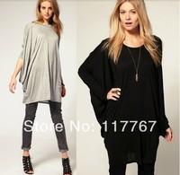 Fashion Women Batwing Sleeve OverSize T Shirt Casual Loose Long Blouse Tops S-XL Free Shipping 654789