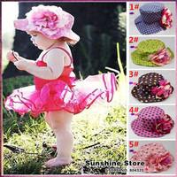 Sunshine store #2C2747 5 pcs/lot(6 colors)2014 spring fashion Girls baby hat  flower flat kids hat lace infant Sunhat Fisherman