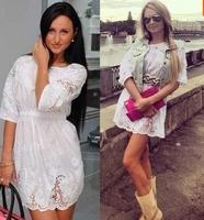 ESHOW FASHION Women summer dresses sweet cutout embroidered crochet laciness slim waist white color fashion 100% cotton dress