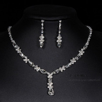 2014 Wholesale Cheap White Gold Plated Crystal Earrings Necklace Bridal Wedding Jewelry Set