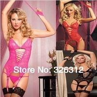 Wholesale Women Sexy Lingerie Body Suit Set Corset Lace Dress g string garter Sleepwear Armband Underwear Uniform Costume RJ2171