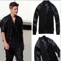 Justin Bieber Outerwear Baseball Jacket For Men New 2014 Casual Leather Jerseys Sports Clothes Cotton Decratin Sweatshirts