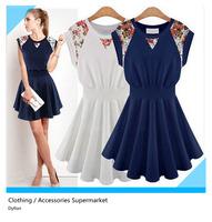 Fashion 2014 new women's summer dresses sleeveless dress  print loose dress for women