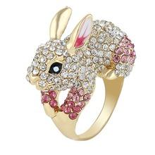 Bella Fashion 4 Sizes Easter Pink Rabbit Finger Ring Austrian Crystal Animal Rings For Women Christmas Gift(China (Mainland))