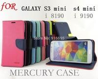 50pcs Mercury Fancy Diary Flip Wallet Leather Case for Samsung Galaxy S3 Mini i8190 S4 mini I9190 retail box Free shipping