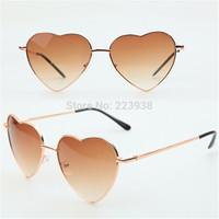 1pcs Woman Sunglasses 11 color Retro Heart Shape Metal frame eyewear Fashionable Free Shipping