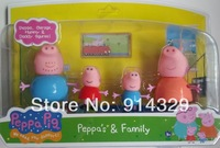 New 2014 Hot Sale Anime Peppa Pig Toys Dolls Daddy Mummy Pig George Pepa Pig Family Set 4pcs/lot with Retail Box, Kids Boy gifts