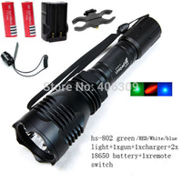 UniqueFire HS-802 Cree green/red/blue light led hunting flashlight torch set with battery+charger+tactical switch+gun mount