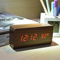 2014 New Home decor Thermometer Wood LED Voice Table Clock,Modern Luminova display Alarm clocks,Big numbers digital clock
