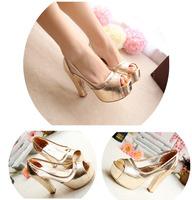 2014 women high square heel platform pump shoes women pumps summer
