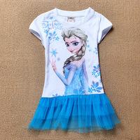 children's fashion 2014 EW ARRIVED Frozen Dress Elsa Frozen Princess 2 3 4 5 6 Years Chilren girl dress pajamas dress