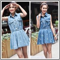 2014 Spring Summer women jeans dress retro  Eiffel Tower printed short sleeve high waist newest fashion denim dress