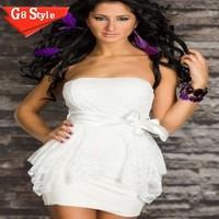 N111 M XXL Plus Size 2015 New Fashion Women Sexy Strapless  Bodycon Summer Mini Casual Dress nightclub sexy double lace dress