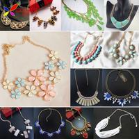 2014 new arrival fashion elegant sweet blue pink yellow flowers gems lattice summer faux collar necklace & pendants for Women
