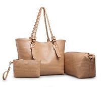 2014 HOT 3 IN 1 BAGS set fashion women's handbag crocodile pattern handbag messenger bag