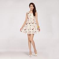 2014 new women dress summer fashion big brand dress princess dress (with belt) Chiffon Dress plus size women clothing