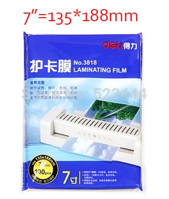 "Wholesale Deli 3818 7"" plastic film laminating film laminating film 7c 100 sheets crispate 13 waterproof free shipping(China (Mainland))"