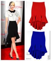 new fashion summer autumn 2014 black red plus size irregular fish tail high waist pleated casual midi skirt women skirts female