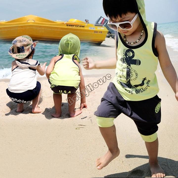 Retail Drop shipping children baby boys gentleman summer short suits set shirt t shirt+ pants cheapest price #2 SV001677(China (Mainland))