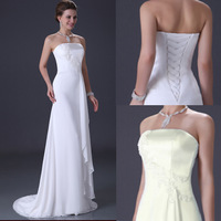 Plue Size Elegant Strapless Ruffles Chiffon Prom Party Bridal Gown Lace Appliques Train Beach White,Ivory Wedding Dresses CL3184