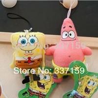 1 pair mini cute plush yellow SpongeBob doll &stuffed pink patrick star squarepants hanging small toys,children birthday gift