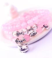 sweet pink crystal beads multi layer bracelets bangles for women cat bracelet wholesale gifts