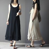 NEW 2015 Casual Dress Plus size Women  Vintage Linen Fluid Loose One-piece Dress Full Dress female Summer Dress Maternity Dress
