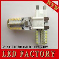 5pcs Silicone G9 220V 6W 3014 SMD 64 LED Crystal Lamp Corn Bulb Droplight Chandelier COB Spotlight Cool/Warm White 360 degree