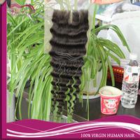 Retail Brazilian Deep Wave Closure Middle Parted Top Lace Closure Naturcl Color 10-20 Inch 4*4 Best Price