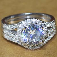 Luxury quality CPP Brand 2 carat NSCD man made diamond wedding ring set for women,bridal set, engagement ring set,free shipping
