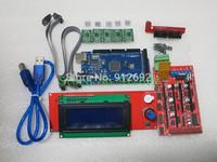 1pcs Mega 2560 R3 + 1pcs RAMPS 1.4 Controller + 5pcs A4988 Stepper Driver Module +1pcs 2004 controller for 3D Printer kit