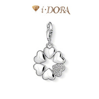 2014 Hot sell diy ts fashion charms bracelet alloys silver plated enamel jewelry pendant diamante clover TS81321 silver