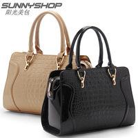 Free Shipping 2015 crocodile pattern fashion smiley women's handbag one shoulder big bags handbag messenger bag