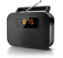 travel LCD dual alarm clock FM radio blue backlight
