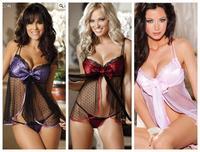 Plus Size Sexy Lingerie Hot 3 Colors Mesh See Through Pron Costume Nightwear Sleepwear Nightie Negligee