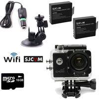 Free Shipping!16GB+SJCAM SJ4000 Wifi SJ4000W Sport Helmet Dash Camera DVR+Car Charger/Bracket
