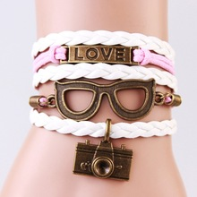 2014 New handmade gift Glases & camera love Charms infinity Bracelet white&pink color woven leather Braclet. Best gift IB709