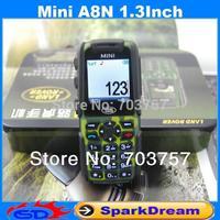 Mini A8N MINI V5 Phone With Dual SIM Card QuadBand MP3 Camera Bluetooth 1.3Inch Outdoor Shockproof Dustproof Phone