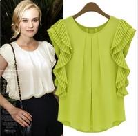 2014 Women Summer short-sleeve chiffon pleated shirt fashion women's ruffled pleated sleeve chiffon shirt basic blouses & shirts