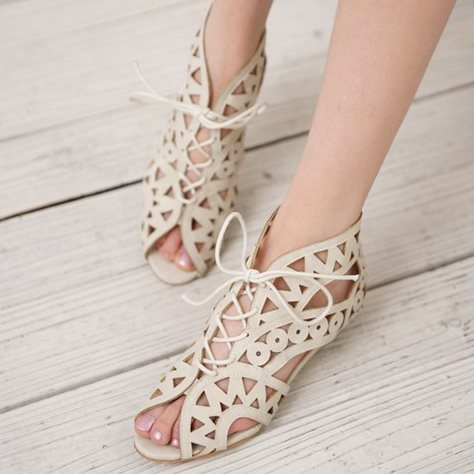 Big Size 34-43 Fashion Cutouts Lace Up Women Sandals Open Toe Low Wedges Summer Shoes Open Toe Gladiator Platform Woman Sandal(China (Mainland))